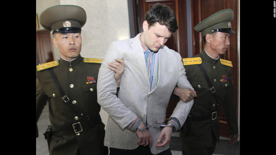 "American student Otto Warmbier is escorted at the Supreme Court in Pyongyang, North Korea, on Wednesday, March 16. The 21-year-old <a href=""http://www.cnn.com/2016/03/16/asia/north-korea-warmbier-sentenced/"" target=""_blank"">was sentenced to 15 years of hard labor</a> after he was accused of trying to steal a political banner from a hotel. The U.S. State Department said the punishment doesn't fit the alleged crime, and it urged North Korea to release Warmbier on humanitarian grounds."