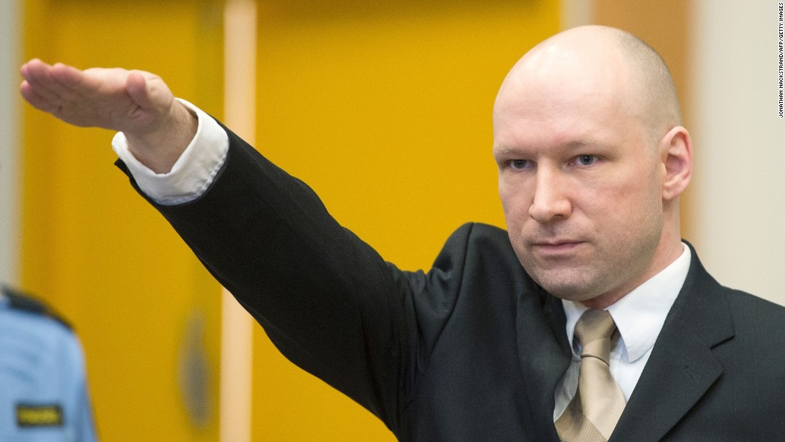 "Terrorist Anders Behring Breivik, who killed 77 people in July 2011, gives a Nazi salute as he enters a courtroom in Skien, Norway, on Tuesday, March 15. <a href=""http://www.cnn.com/2016/03/15/europe/norway-anders-breivik-lawsuit/index.html"" target=""_blank"">Breivik is suing Norway,</a> claiming that his human rights have been violated during his incarceration."