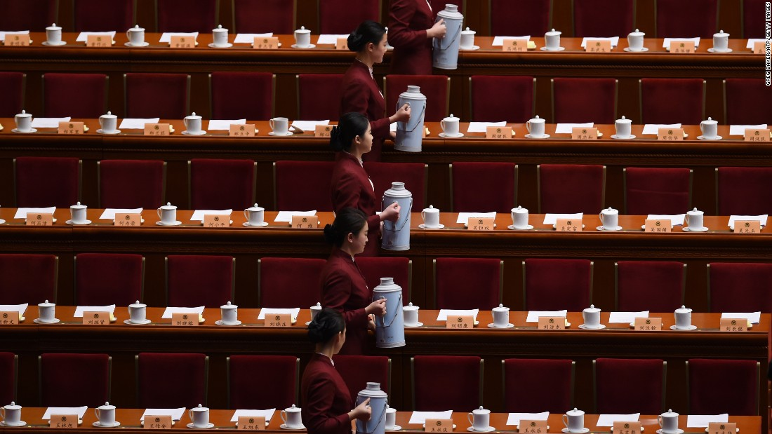 Tea is prepared Monday, March 14, before the closing session of the Chinese People's Political Consultative Conference.
