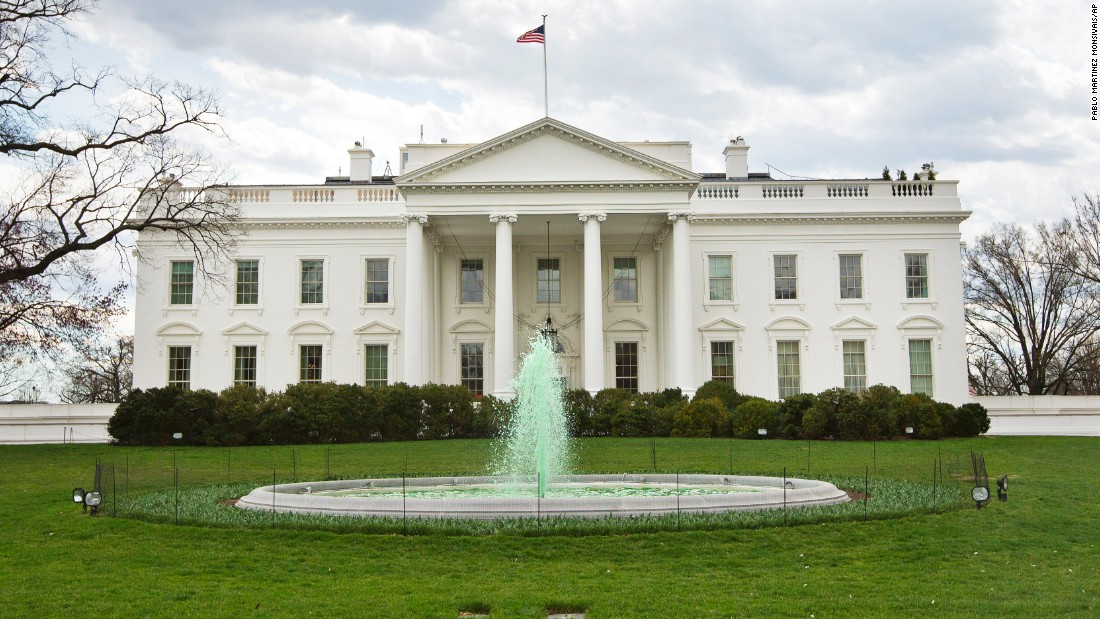 The fountain on the North Lawn of the White House is dyed green in honor of St. Patrick's Day.