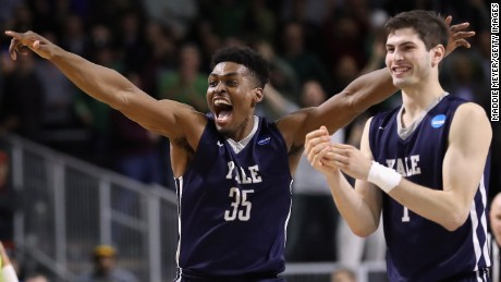 Yale's Brandon Sherrod, left, and Anthony Dallier celebrate their 79-75 win against Baylor on Thursday.