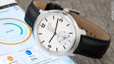 """Described as a """"horological smartwatch"""" Swiss brand Mondaine unveiled their smartwatch with an analogue face last year. It is thought to be the first Swiss watch to combine traditional watchmaking with connected technologies."""