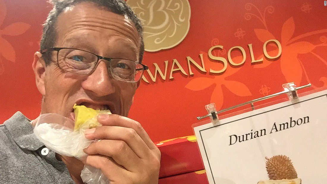 "In Malaysia he tries durian, the notoriously stinky southeast Asian fruit. <a href=""https://twitter.com/richardquest/status/710087138591649792"" target=""_blank"">""Smell is awful and taste not much better,"" </a>is the Quest verdict"