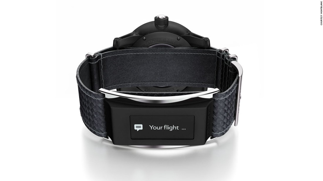 Montblanc's solution to the smartwatch is the E-strap, a device attached to the watchstrap, allowing the watch itself to remain classical.