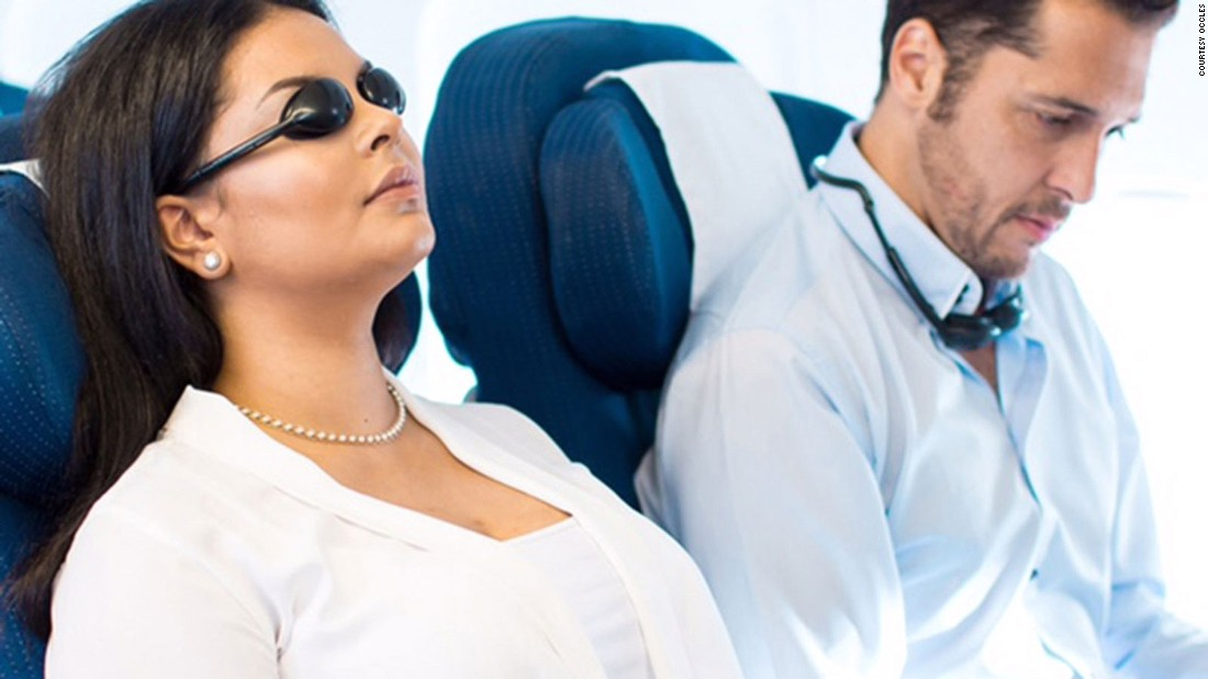 These odd-looking eye shades claim to help aid sleep in airplane by blocking out all daylight.