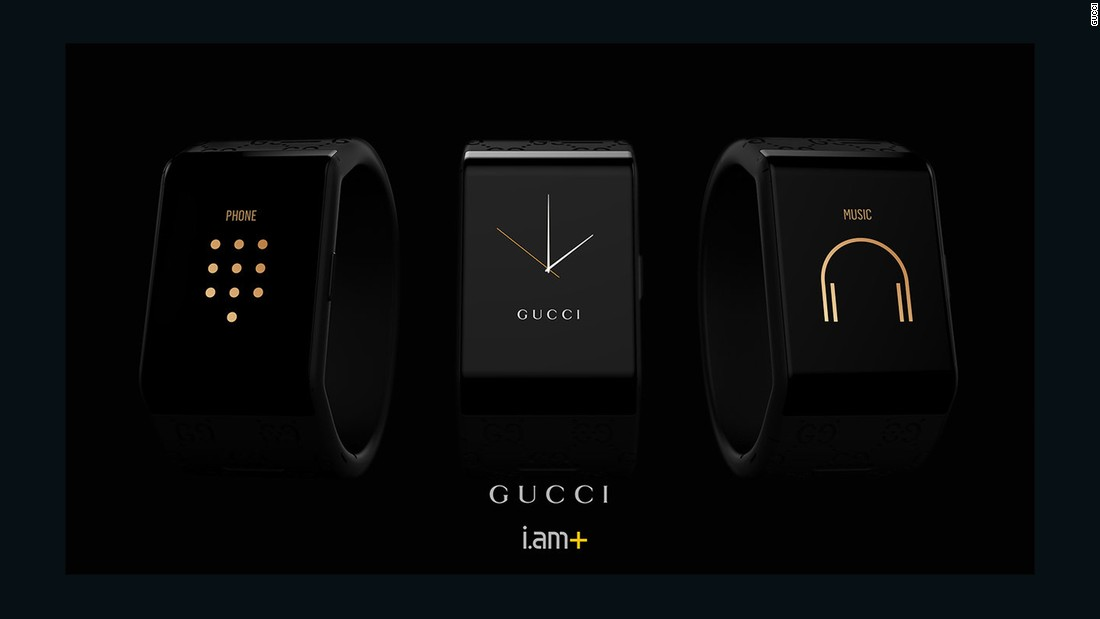 Gucci collaborated with will.i.am on their first luxury smartwatch. You can use it to make calls, send and receive texts, hold music and access maps, all without connecting to a phone.