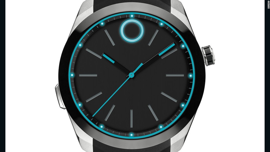 One the other end, the glowing Movado BOLD mimics a sportier mechanical watch style.