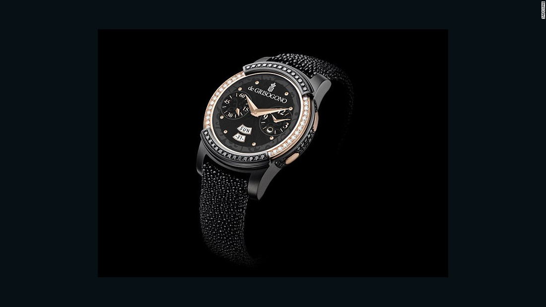 The Samsung Gear S2 by de GRISOGONO the former's technology with the latter's fine jewelery expertise. The watch features over 100 black and white diamonds, and allows the wearer to access apps, notifications, and activity trackers.