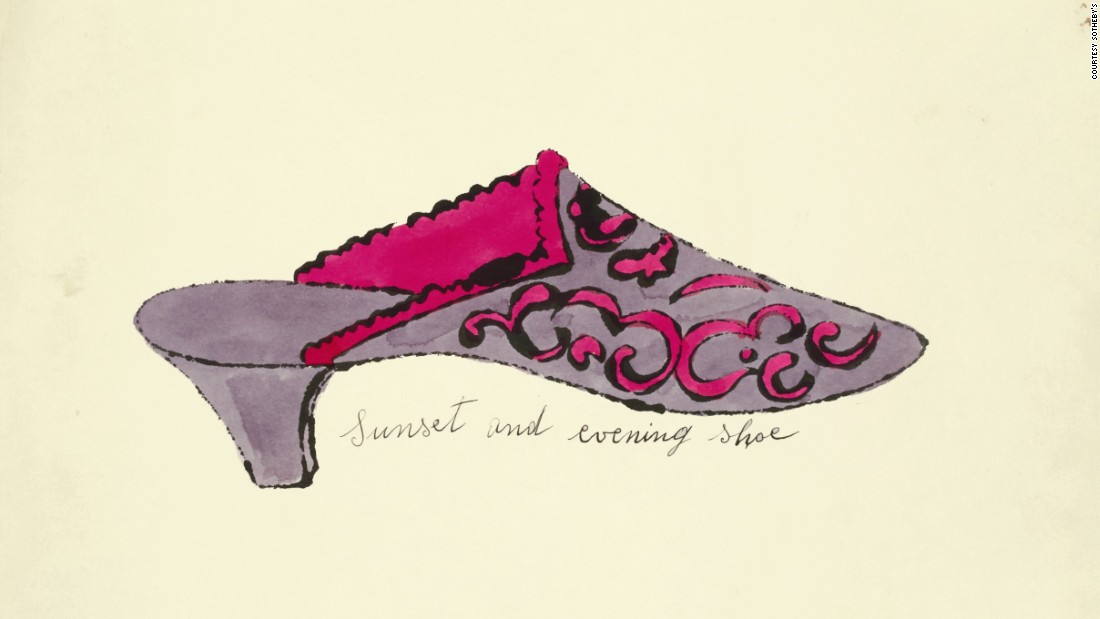 On March 22, Sotheby's London is selling a portfolio of shoe illustrations by Andy Warhol, each of which has an irreverent name -- like <em>Sunset and evening shoe</em> seen here.