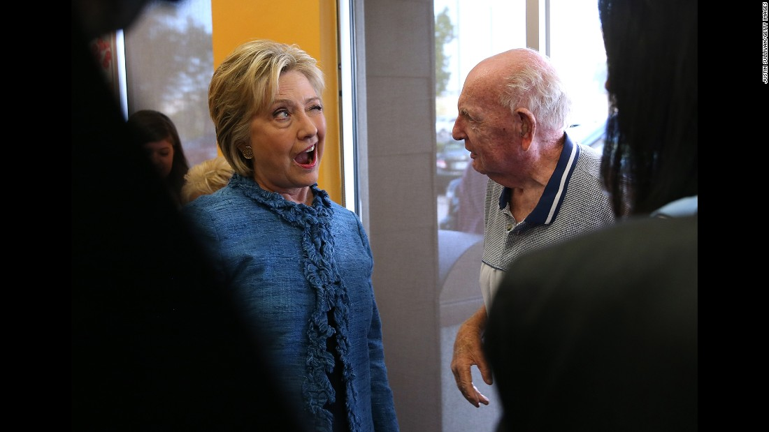 "Democratic presidential candidate Hillary Clinton winks at a man while visiting a doughnut shop in West Palm Beach, Florida, on Tuesday, March 15. Clinton <a href=""http://www.cnn.com/2016/03/15/politics/election-2016-ohio-illinois-florida-primaries-highlights/"" target=""_blank"">took big strides toward the Democratic nomination</a> by winning Florida and North Carolina that night."