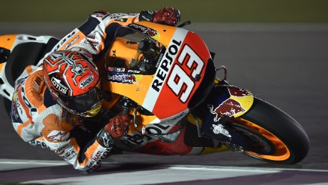 Marquez rounds a corner during practice at Qatar
