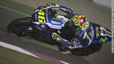 Valentino Rossi rounds a bend during the MotoGP of Qatar free practice session at the Losail Circuit.