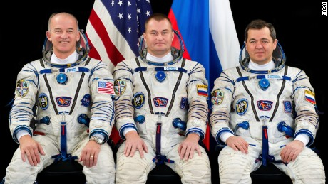 (From left) NASA astronaut Jeff Williams and cosmonauts Alexey Ovchinin and Oleg Skripochka.