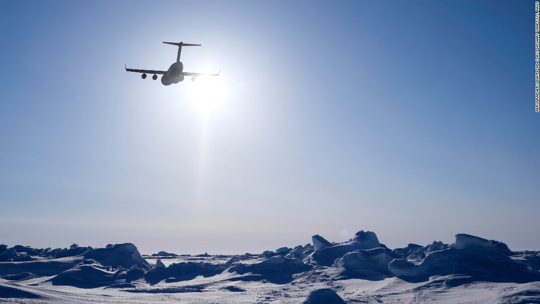 An Air Force C-17 Globemaster III assigned to 29th Airlift Squadron drops an Arctic Sustainment Package as part of training during ICEX 2016.