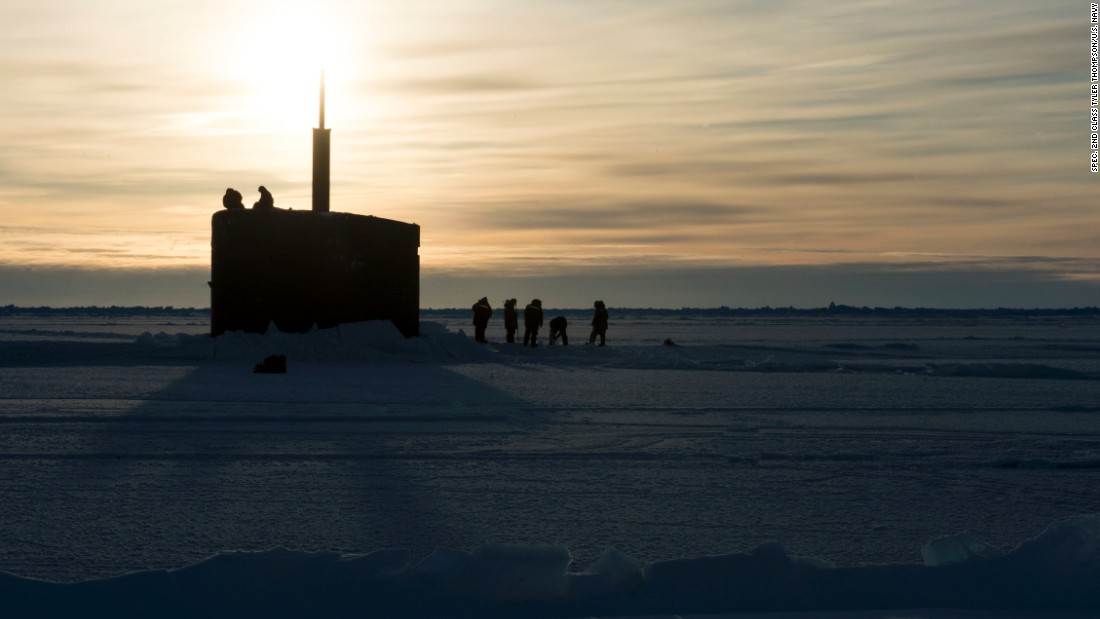 The submarine USS Hampton (SSN 767) surfaces through the Arctic ice on March 14, 2016.