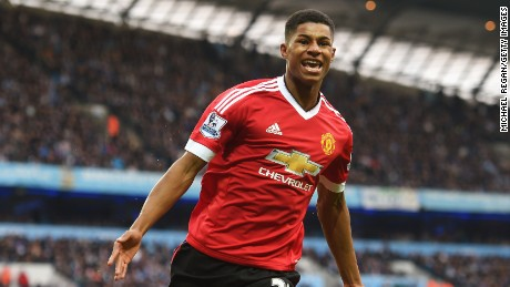 Marcus Rashford wheels away in triumph after scoring the only goal of the game in the Manchester derby.