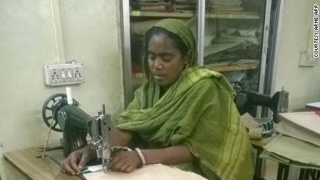Mumtaj Bibi joined Apne Aap 13 years ago and learned how to sew. She has used the money she has earned to pay for her children's education.