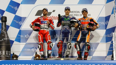 Andrea Dovizioso, Jorge Lorenzo and Marc Marquez on the Qatar podium.