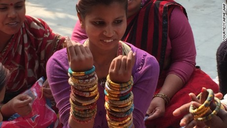 Who's Sari Now? The women of Apne Aap have survived human trafficking and now make jewelry from upcycled saris to sell in America.  The bracelets and necklaces are popular with celebrities and have been featured in fashion magazines.
