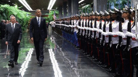 U.S. President Barack Obama and Cuban President Raul Castro review troops before bilateral meetings at the Palace of the Revolution March 21 in Havana, Cuba.