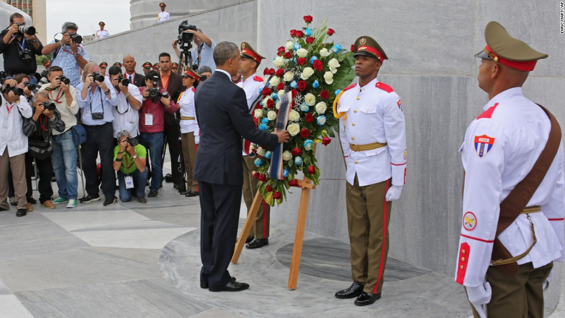"Obama lays a wreath at the Jose Marti monument in Havana's Revolution Square on March 21. ""It is a great honor to pay tribute to Jose Marti, who gave his life for independence of his homeland,"" Obama wrote after he laid the wreath. ""His passion for liberty, freedom, and self-determination lives on in the Cuban people today."""