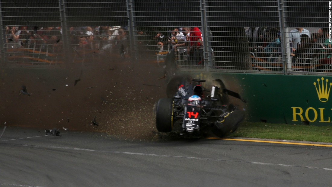 "Alonso said he ""saw a little space to get out of the car"" and did so as quickly as could so that his mother, watching the race at home, could see he was safe."