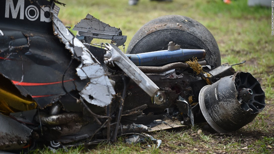 The wreckage of the car betrays the speed and ferocity of the crash from which Alonso escaped.