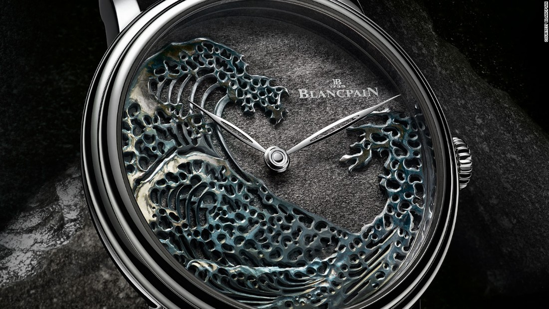 Blancpain's The Great Wave uses silver obsidian for the first time on a base of Shakudo, an ancient Japanese alloy given a unique patina by immersion in a bath of rokusho salts.