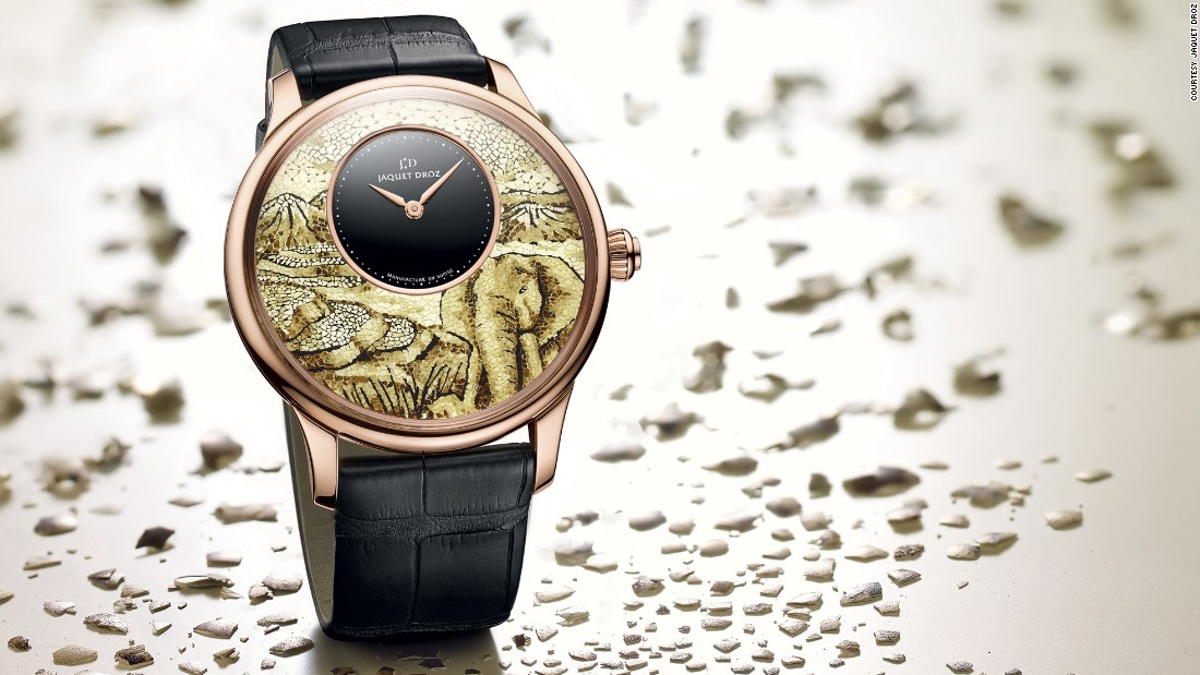 Jaquet Droz has created the Petite Heure Minute Marquetry, in which the mosaic dial is made from hundreds of tiny pieces of quails egg shells. Part of their  Ateliers d'Art collection this technical design was inspired by an ancestral Asian technique.