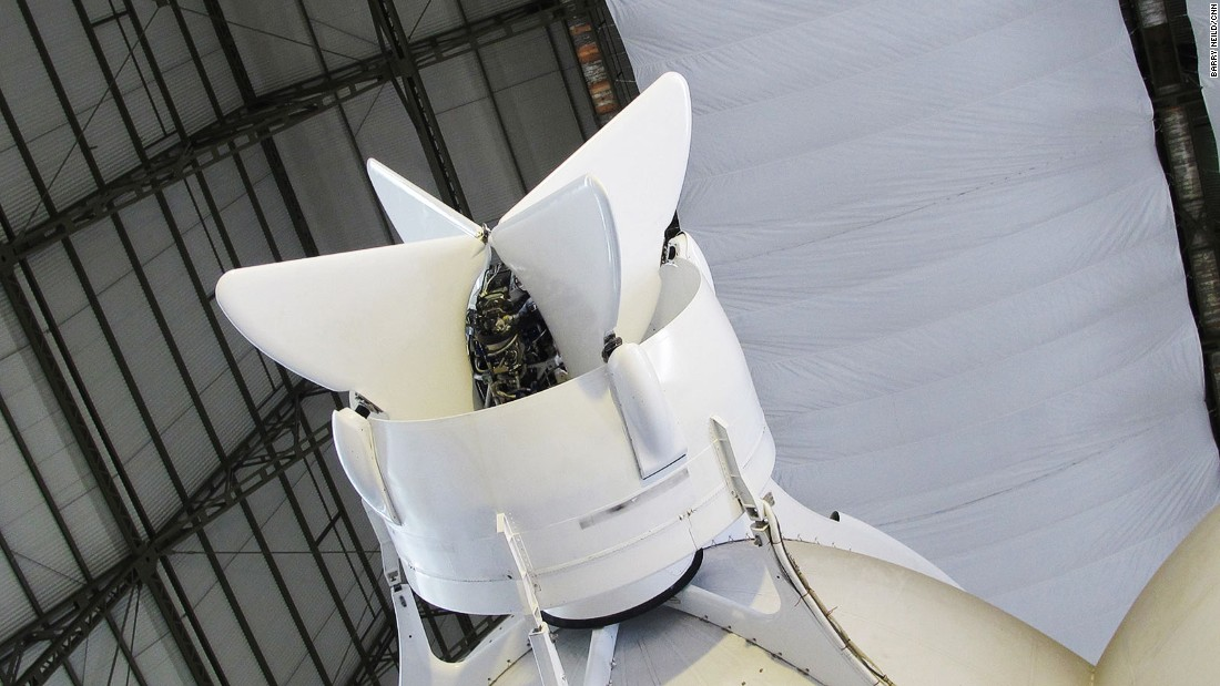 Engine fins can be altered to give vectored thrust, allowing the Airlander to carry out vertical takeoffs and landings.