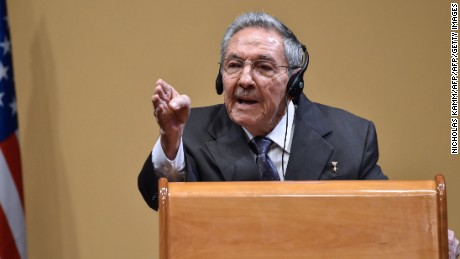 "Cuban President Raul Castro speaks at a press conference with US President Barack Obama (out of frame) at the Revolution Palace in Havana on March 21, 2016. On Monday, Castro stood next to Obama and hailed his opposition to a long-standing economic ""blockade,"" but said it would need to end before ties are fully normalized.   AFP PHOTO/Nicholas KAMM / AFP / NICHOLAS KAMM        (Photo credit should read NICHOLAS KAMM/AFP/Getty Images)"