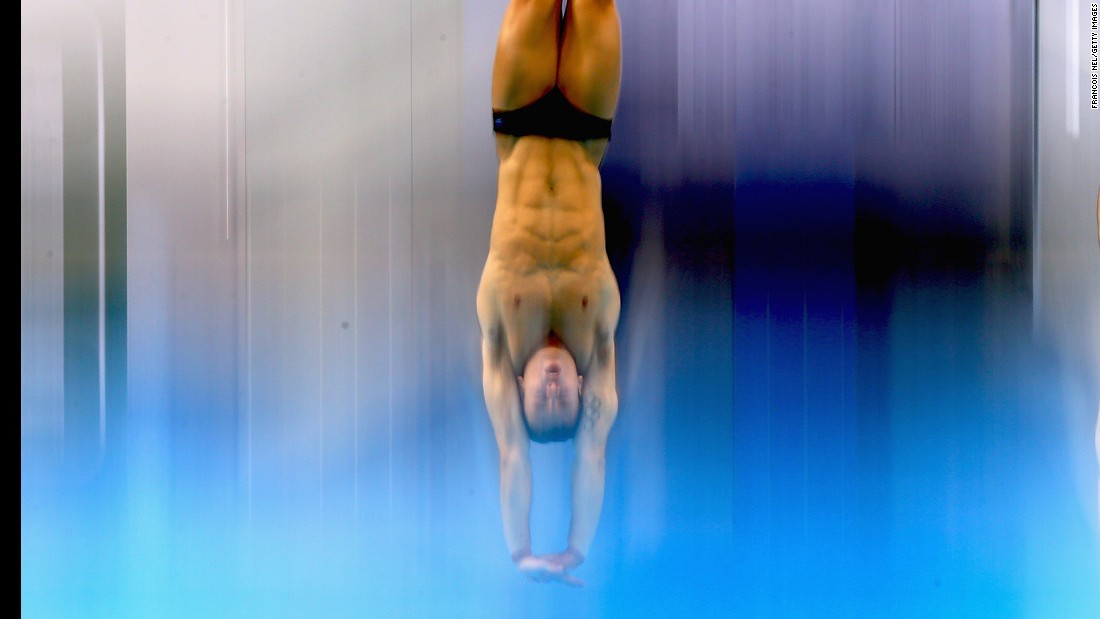 British divers Tom Daley and Daniel Goodfellow perform synchronized dives Thursday, March 17, during the World Series event in Dubai, United Arab Emirates. They finished second on the 10-meter platform.