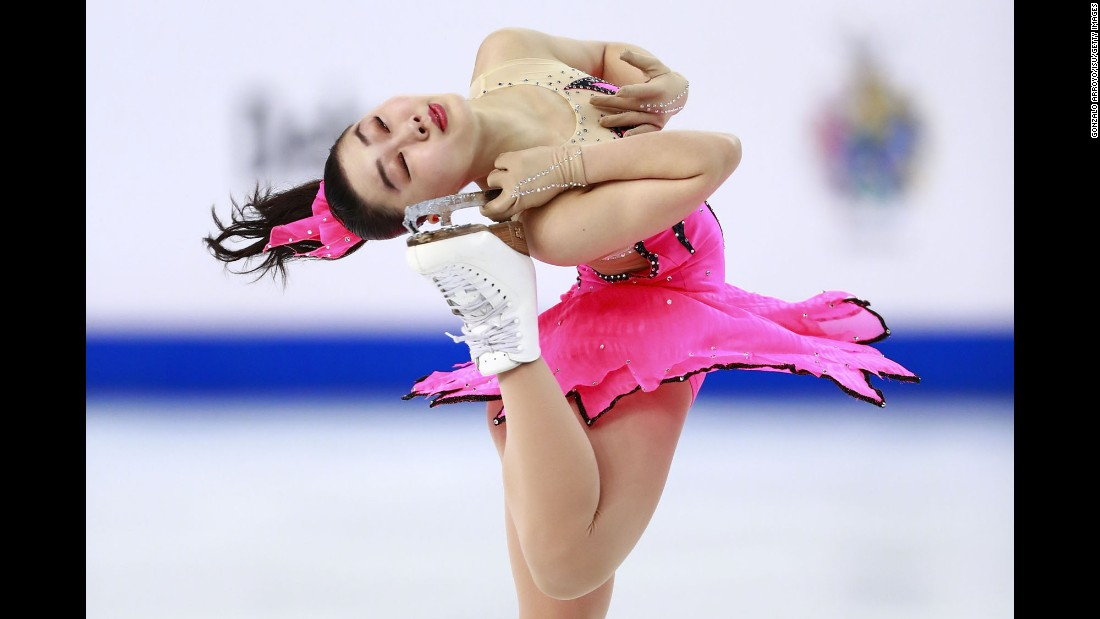 Japan's Wakaba Higuchi skates her short program Friday, March 18, during the World Junior Figure Skating Championships in Debrecen, Hungary. She won the bronze.