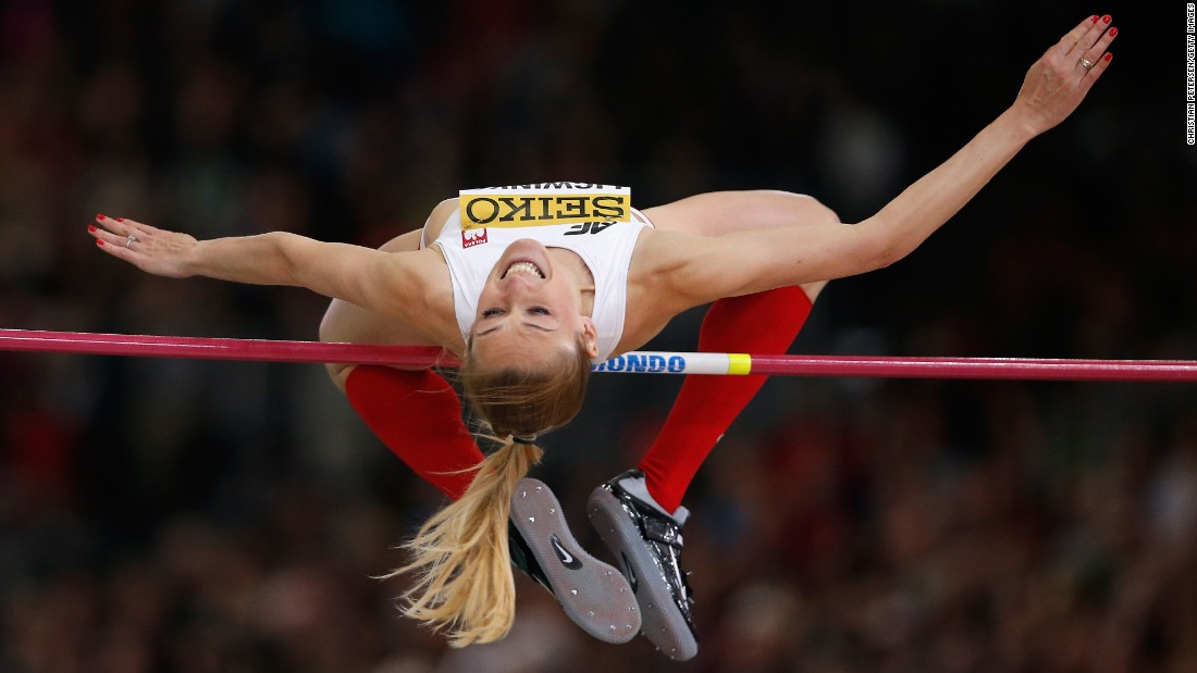 Polish high jumper Kamila Licwinko clears the bar Sunday, March 20, during the World Indoor Championships in Portland, Oregon. She finished in third place.