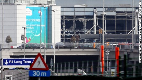 A view of bomb damage of the from Zaventem International Airport after a terrorist attack on March 22, 2016 in Brussels, Belgium.