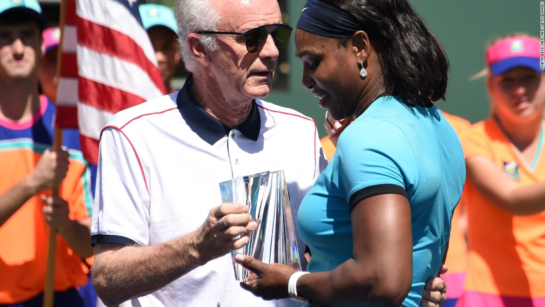 "Before Djokovic beat Milos Raonic in the Indian Wells final Sunday, tournament director Raymond Moore, left, said women's players should ""get down"" on their knees and thank Federer and Rafael Nadal for carrying tennis."
