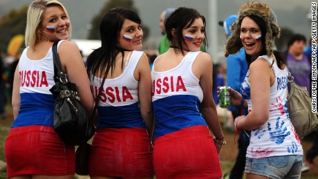 Russian fans attend the 2011 Rugby World Cup match against Australia.