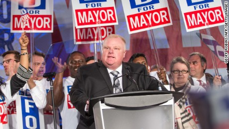 Former Toronto Mayor Rob Ford died from cancer on March 22. Ford speaks during the kick off of his re-election campaign in 2014.