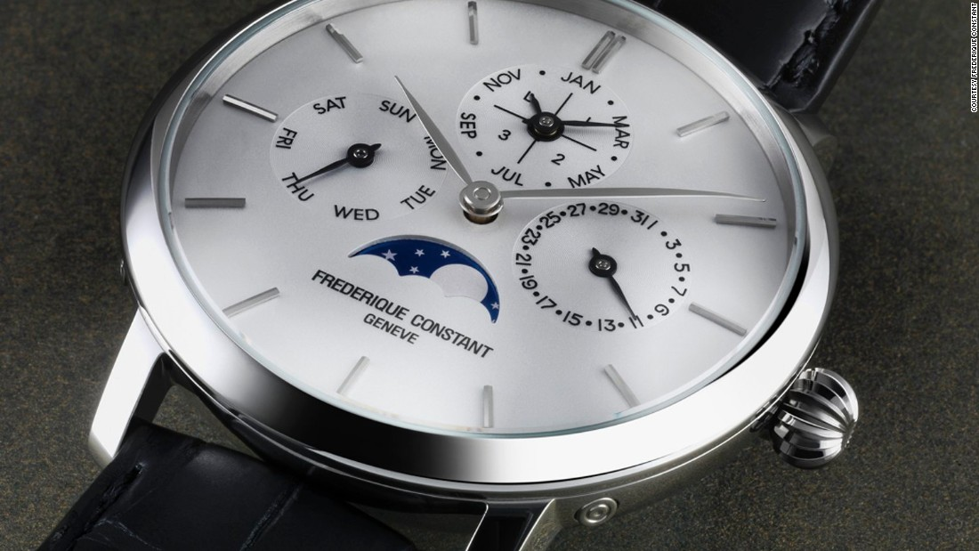 Another complicated watch created in steel is the Frédérique Constant Slimline Perpetual Calendar. Though the (just under) $10,000 price tag may seem steep, in the horological world it's impressively modest, given that it's almost half the price of the next most affordable perpetual calendar model.
