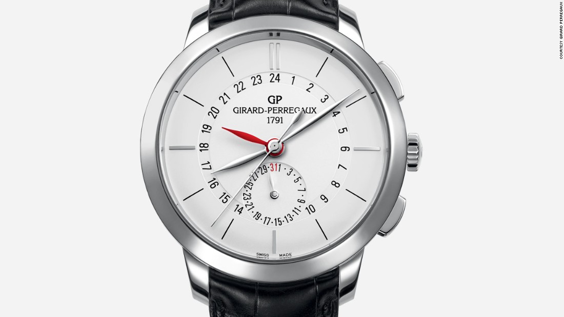 Girard-Perregaux debuted a cost-friendly version in stainless steel, with an attractive white dial and elegant feuille hands.