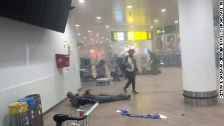 Georgian journalist, Ketevan Kardava, was at the Brussels airport when the explosions happened. She took very powerful pictures of victims from inside the airport immediately after the blast. GUIDANCE: Some pictures are graphic. Use caution when airing   Approved for use by Stefan Simons ñ no distribution at this time Mandatory Courtesy: Ketevan Kardava/Georgian Public Broadcasting