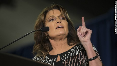 Former Alaska Gov. Sarah Palin speaks at Hansen Agriculture Student Learning Center at Iowa State University on January 19, 2016 in Ames, IA.