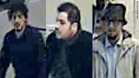 Airport surveillance shows the man, right, near bombers Najim Laachraoui, left, and Ibrahim El Bakraoui.