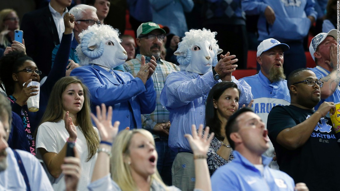 North Carolina fans cheer on their team as it takes the floor for a second-round game on Saturday, March 19.