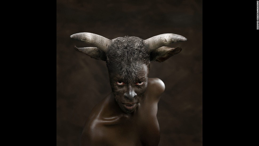 """Europa"" (2008) by the South African artist Nandipha Mntambo. The artist experiments with materials like cowhide to create a distinct look which challenges the interpretation and understanding of the thin line between the animal and the human."