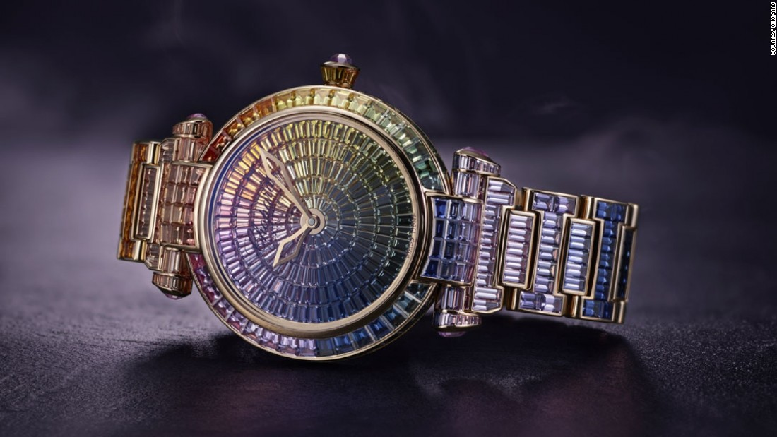 Chopard's new Imperiale Joaillerie is covered with 581 sapphires totalling 47.98 karats, with the crown and lug covers set with amethysts. The result of their arrangement is a rainbow effect of shimmering color. Oh, and it also tells the time.