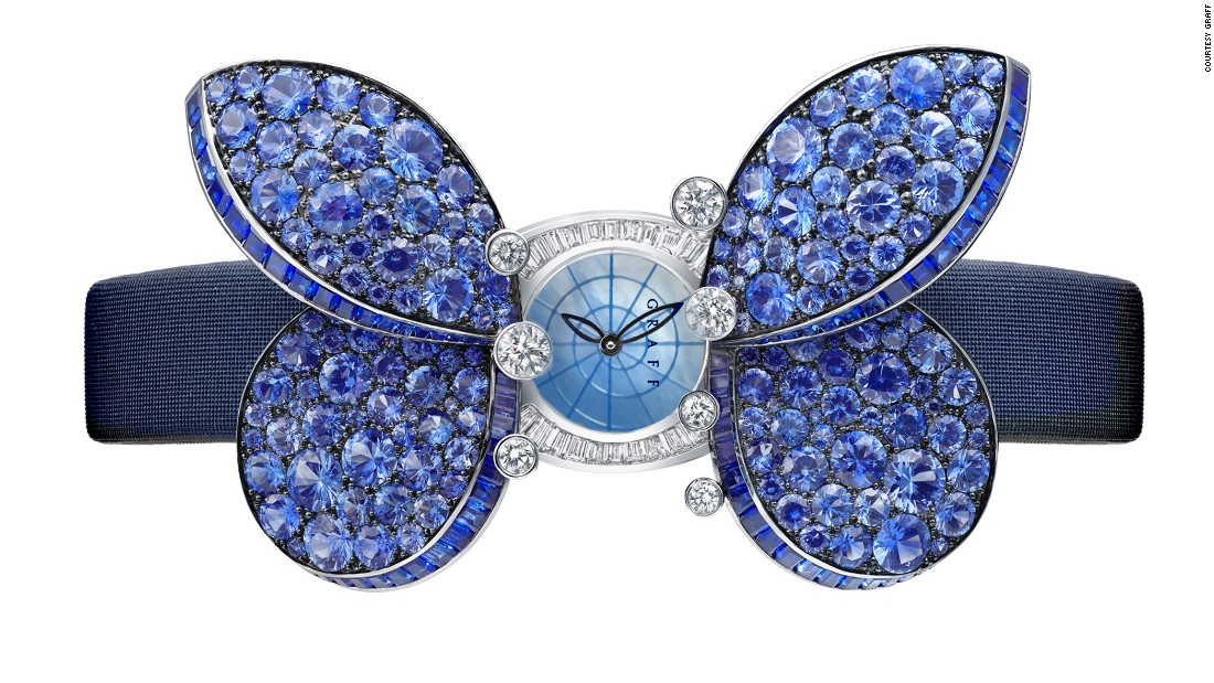 The Princess Butterfly by Graff has wings composed of sapphires and a body made of diamonds, which opens to reveal a 17mm watch with a mother-of-pearl dial.
