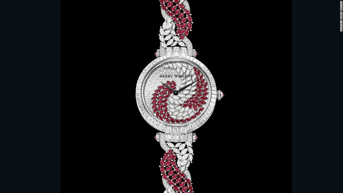The new Harry Winston Twist has 61 baguette-cut diamonds, 50 marquise-cut diamonds and 70 marquise-cut rubies, with the bracelet adding another 178 white diamonds and 110 rubies.