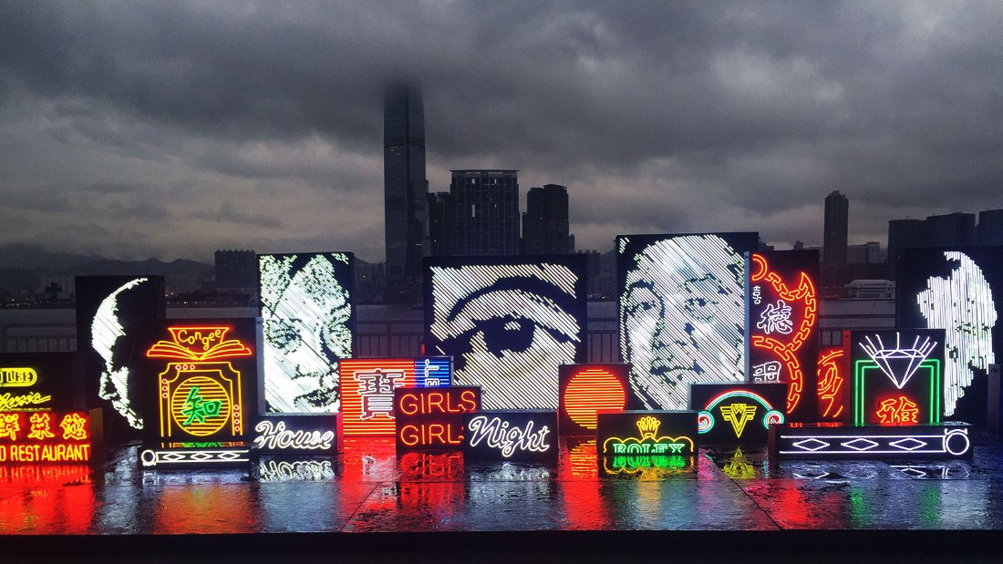 "Vhils worked with local neon masters to produce these new works, which appear at the ""Debris"" exhibition."