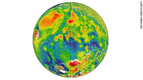 Gravity map of Mars. White and red are areas of higher gravity; blue lower.